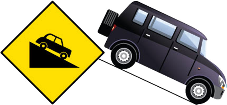 A Graphical Illustration of a Vehicle Descending Down a Steep Hill